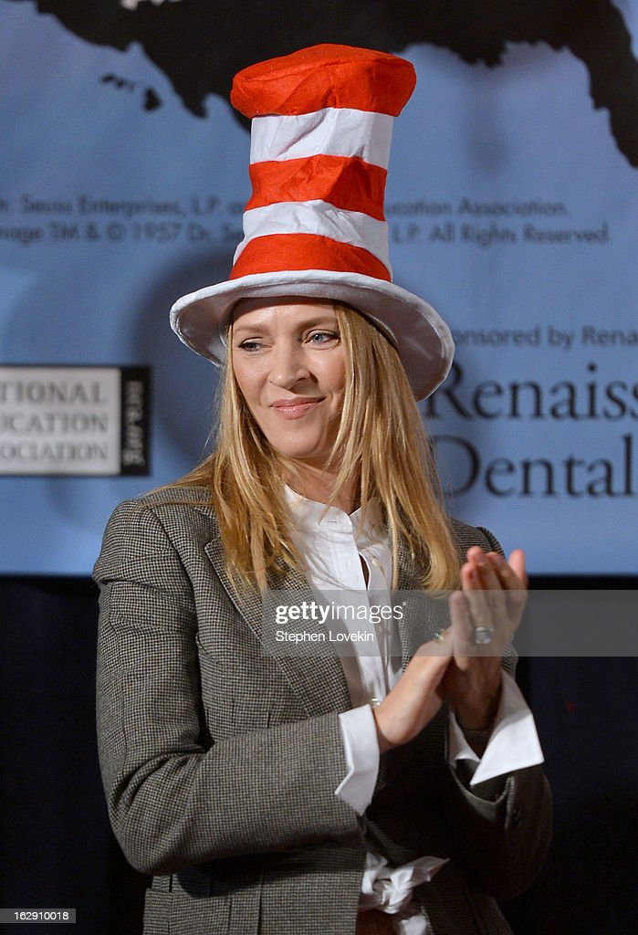 Actress Uma Thurman Joins Cat In The Hat On NEA's Read Across America Day at New York Public Library on March 1, 2013 in New York City.
