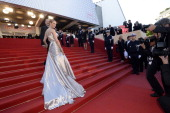 US actress Uma Thurman poses on May 26 2013 as she arrives for the screening of the film 'Zulu' presented Out of Competition at the 66th edition of...
