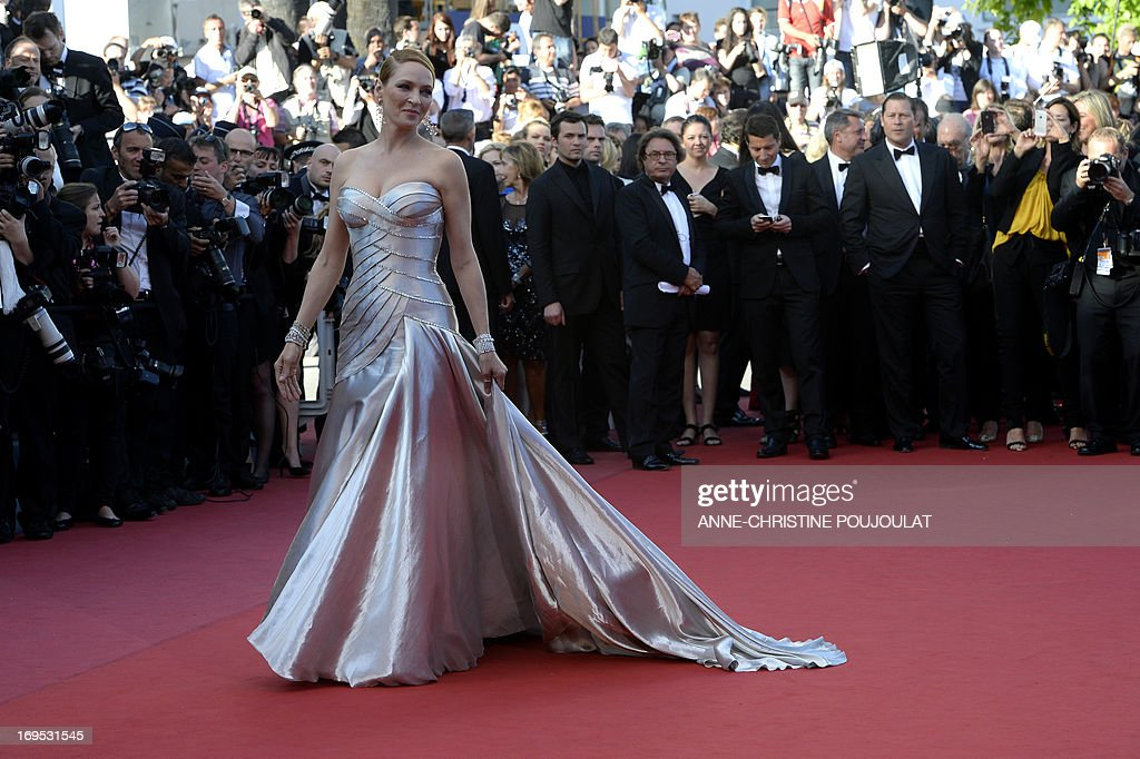 US actress Uma Thurman poses on May 26, 2013 as she arrives for the screening of the film 'Zulu' presented Out of Competition at the 66th edition of the Cannes Film Festival in Cannes.