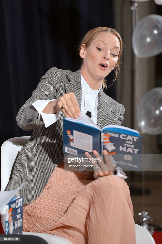 Actress <a gi-track='captionPersonalityLinkClicked' href=/galleries/search?phrase=Uma+Thurman&family=editorial&specificpeople=171973 ng-click='$event.stopPropagation()'>Uma Thurman</a> reads onstage at NEA's Read Across America Day at New York Public Library on March 1, 2013 in New York City.