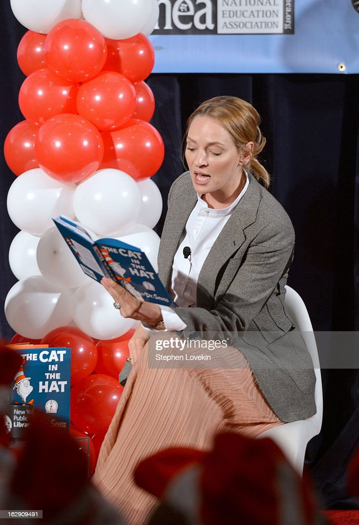 Actress Uma Thurman reads onstage at NEA's Read Across America Day at New York Public Library on March 1, 2013 in New York City.