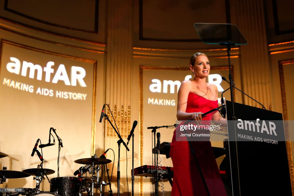 Actress <a gi-track='captionPersonalityLinkClicked' href=/galleries/search?phrase=Uma+Thurman&family=editorial&specificpeople=171973 ng-click='$event.stopPropagation()'>Uma Thurman</a> speaks onstage during the 4th Annual amfAR Inspiration Gala New York at The Plaza Hotel on June 13, 2013 in New York City.
