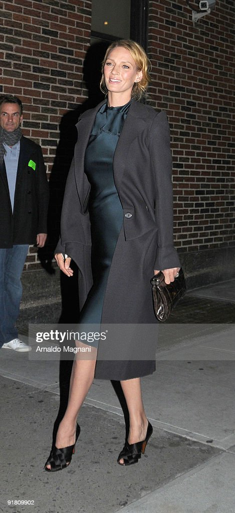 Actress <a gi-track='captionPersonalityLinkClicked' href=/galleries/search?phrase=Uma+Thurman&family=editorial&specificpeople=171973 ng-click='$event.stopPropagation()'>Uma Thurman</a> visits 'Late Show With David Letterman' at the Ed Sullivan Theater on October 12, 2009 in New York City.