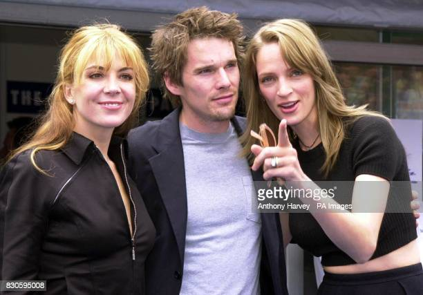 Actress Uma Thurman with husband actor Ethan Hawke and actress Natasha Richardson arrive at the official opening of the American Pavilion at the 54th...