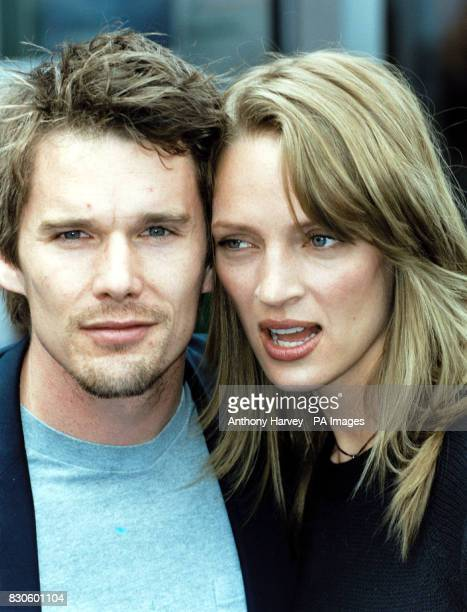 Actress Uma Thurman with husband actor Ethan Hawke at the official opening of the American Pavilion at the 54th Cannes Film Festival in France