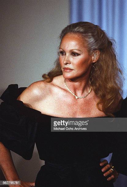 Actress Ursula Andress poses backstage during the 54th Academy Awards at Dorothy Chandler Pavilion in Los AngelesCalifornia
