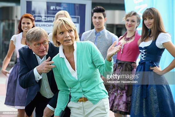 Actress Uschi Glas opens with Michael Kerkloh CEO of Munich Airport the 'Golf Kids Challenge' prior to the Porsche European Open 2015 at Munich...