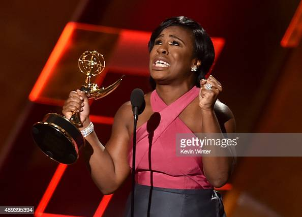 Actress Uzo Aduba accepts Outstanding Supporting Actress in a Drama Series for 'Orange Is the New Black' onstage during the 67th Annual Primetime...