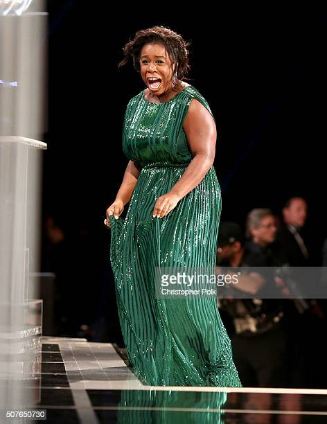 Actress Uzo Aduba accepts the Female Actor in a Comedy Series award for 'Orange Is The New Black' onstage during The 22nd Annual Screen Actors Guild...