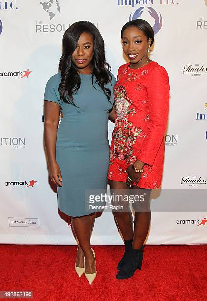 Actress Uzo Aduba and recording artist Estelle attend The Resolution Project's Resolve 2015 Gala at The Harvard Club on October 15 2015 in New York...