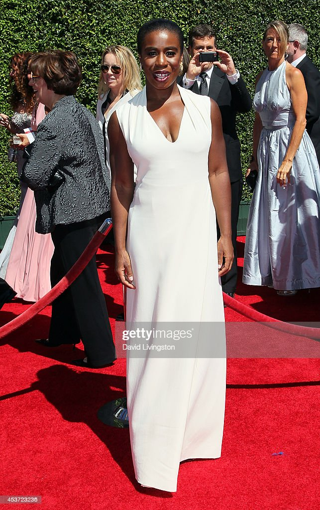 Actress <a gi-track='captionPersonalityLinkClicked' href=/galleries/search?phrase=Uzo+Aduba&family=editorial&specificpeople=7042411 ng-click='$event.stopPropagation()'>Uzo Aduba</a> attends the 2014 Creative Arts Emmy Awards at the Nokia Theatre L.A. Live on August 16, 2014 in Los Angeles, California.