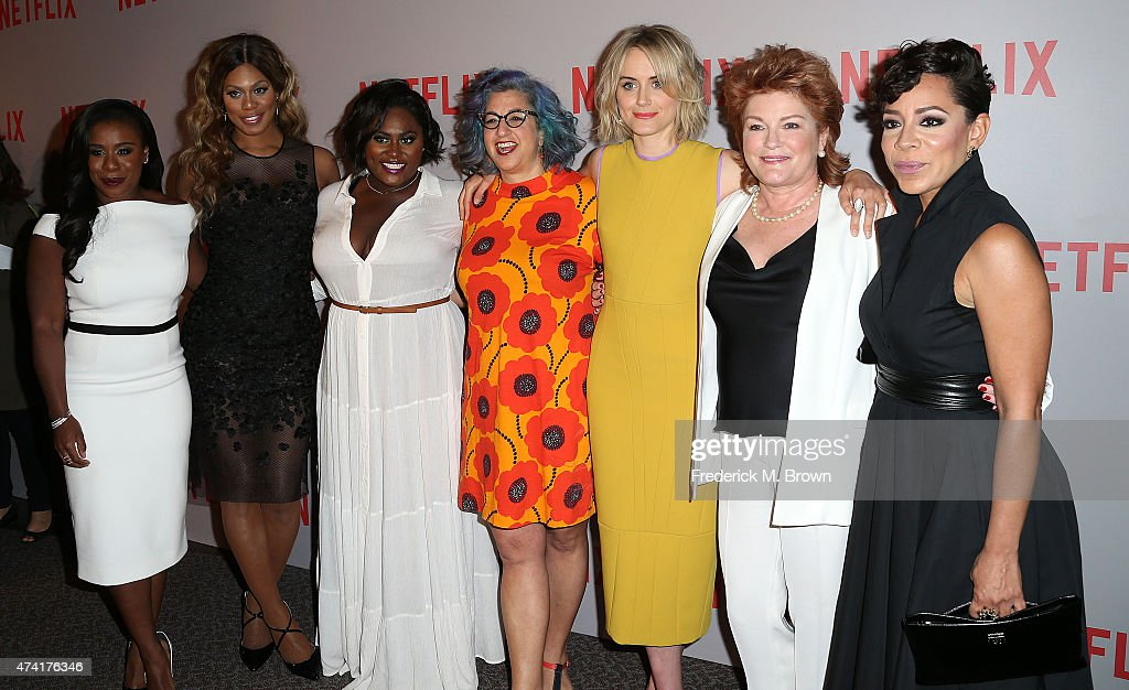 Actress Uzo Aduba, Laverne Cox, Danielle Brooks, Jenji Kohan, Taylor Schilling, Kate Mulgrew, and Selenis Leyva attend Netflix's 'Orange Is The New Black' For Your Consideration Screening and Q & A at the Directors Guild Of America on May 20, 2015 in Los Angeles, California.