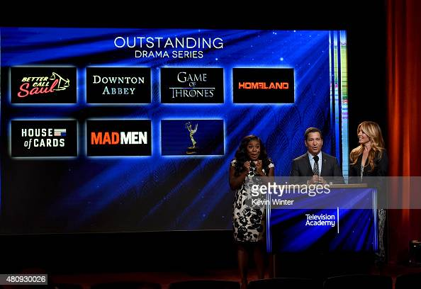 Actress Uzo Aduba Television Academy Chairman CEO Bruce Rosenblum and Television Presenter Cat Deeley present the 67th Primetime Emmy Awards...