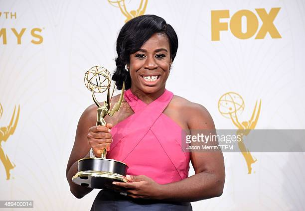 Actress Uzo Aduba winner of Outstanding Supporting Actress in a Drama Series for 'Orange Is The New Black' poses in the press room at the 67th Annual...