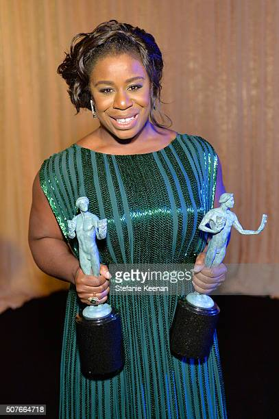 Actress Uzo Aduba winner of the awards for Outstanding Performance By a Female in a Comedy Series and Outstanding Performance By An Ensemble in a...