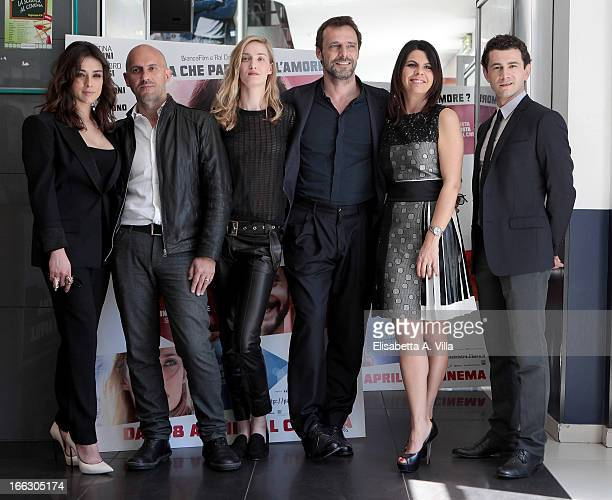 Actress Valentina Lodovini director Marco Ponti and actors Eva Riccobono Alessandro Preziosi Geppi Cucciari and Vinicio Marchioni attend 'Passione...