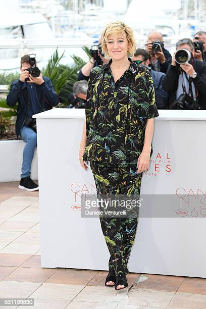 Actress Valeria Bruni Tedeschi attends the 'Slack Bay' Photocall during the 69th annual Cannes Film Festival at the Palais des Festivals on May 13...