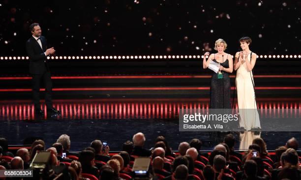 Actress Valeria Bruni Tedeschi receives the Best Actress Award with Micaela Ramazzotti and Claudio Santamaria during the 61 David Di Donatello...