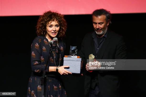 Actress Valeria Golino receives her LARA Award for the Best Italian Actor at the Collateral Awards Ceremony during the 8th Rome Film Festival at the...