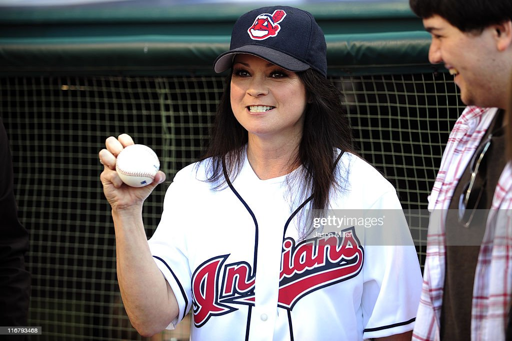 Actress Valerie Bertinelli shows off her knuckle ball before throwing out the first pitch of the game between the Cleveland Indians and the Pittsburgh Pirates at Progressive Field on June 17, 2011 in Cleveland, Ohio.