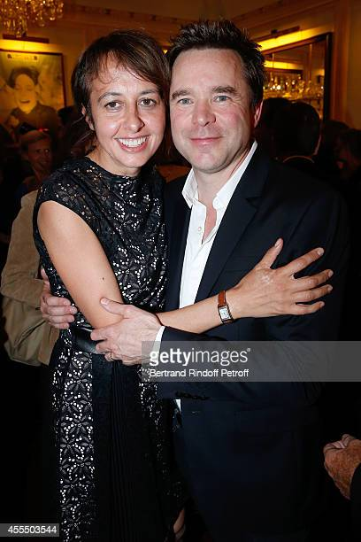Actress Valerie Bonneton and actor of the piece Guillaume de Tonquedec pose after 'Un diner d'adieu' Premiere Held at Theatre Edouard VII on...