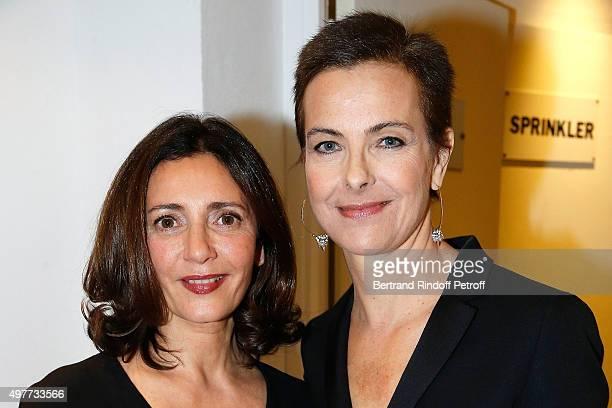 Actress Valerie Karsenti and Carole Bouquet attend 'Vivement Dimanche' TV Show at Pavillon Gabriel on November 18 2015 in Paris France