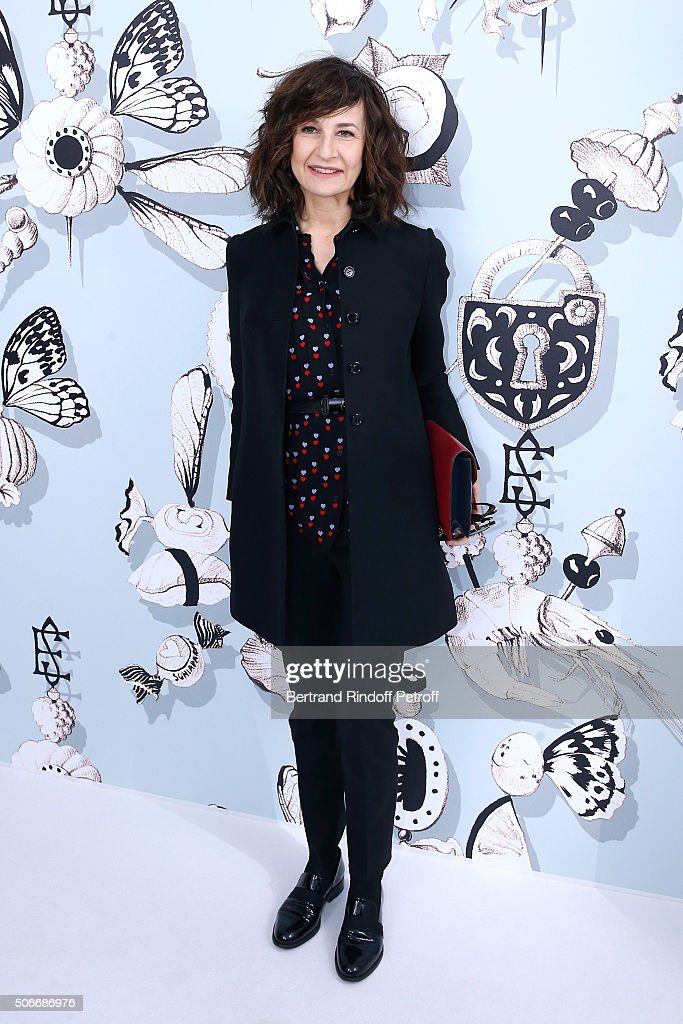 Actress Valerie Lemercier attends the Schiaparelli Haute Couture Spring Summer 2016 show as part of Paris Fashion Week on January 25 2016 in Paris...