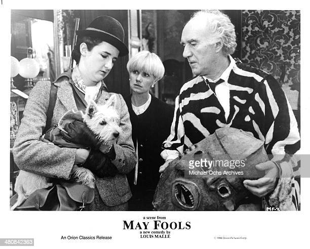 Actress Valerie Lemercier MiouMiou and actor Michel Piccoli set of the movie ' May Fools ' circa 1990