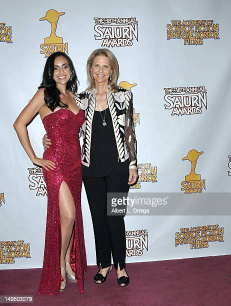 Actress Valerie Perez and actress Lindsey Wagner at the 38th Annual Saturn Awards inside the press room held at Castaways on July 26 2012 in Burbank...