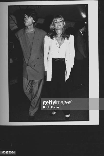 Actress Valerie Perrine w unident male at premiere party for the movie A League of Their Own at Tavern on the Green restaurant