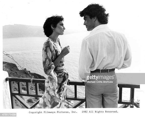 Actress Valerie Quennessen and actor Peter Gallagher in a scene from the movie 'Summer Lovers' circa 1982