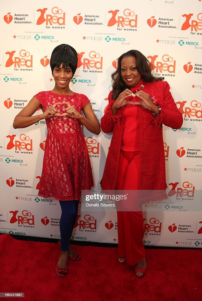 Actress Valisia LeKae and TV personality <a gi-track='captionPersonalityLinkClicked' href=/galleries/search?phrase=Star+Jones&family=editorial&specificpeople=202645 ng-click='$event.stopPropagation()'>Star Jones</a>, who is Heart Disease Survivor and American Heart Association National Volunteer, attend the event to celebrate the 10th National Wear Red Day with American Heart Association's Go Red For Women movement at Macy's Herald Square on January 31, 2013 in New York City.