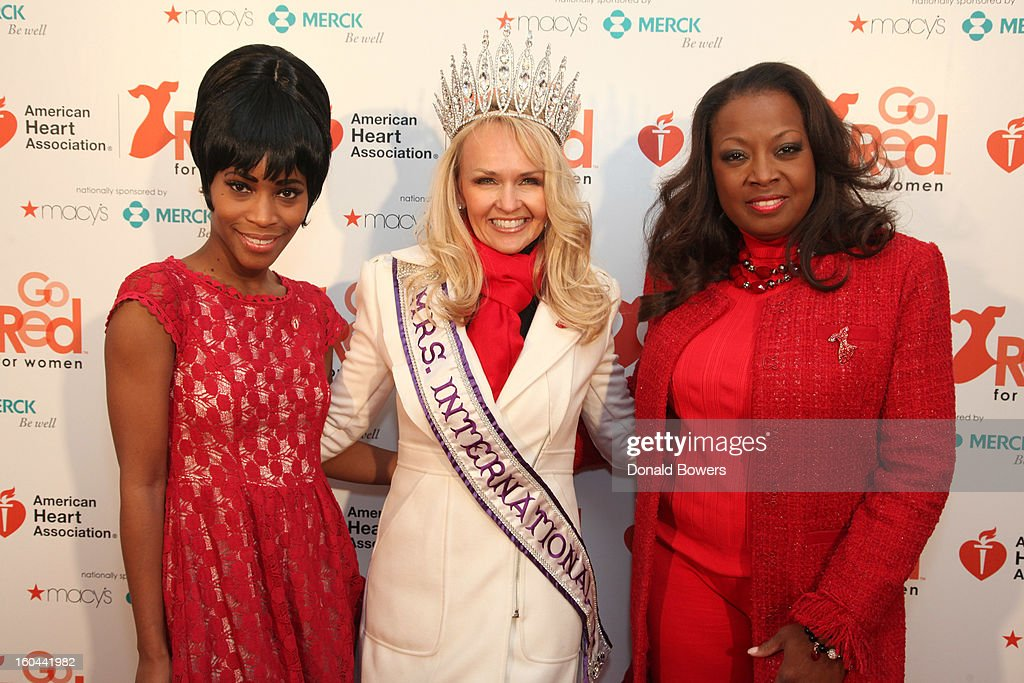 Actress Valisia LeKae, Mrs. International 2012 Sarah Bazey and TV personality <a gi-track='captionPersonalityLinkClicked' href=/galleries/search?phrase=Star+Jones&family=editorial&specificpeople=202645 ng-click='$event.stopPropagation()'>Star Jones</a>, who is Heart Disease Survivor and American Heart Association National Volunteer, attend the event to celebrate the 10th National Wear Red Day with American Heart Association's Go Red For Women movement at Macy's Herald Square on January 31, 2013 in New York City.