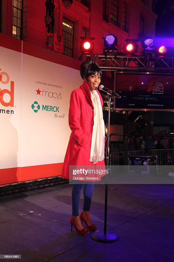 Actress Valisia LeKae performs at the event to celebrate the 10th National Wear Red Day with American Heart Association's Go Red For Women movement at Macy's Herald Square on January 31, 2013 in New York City.