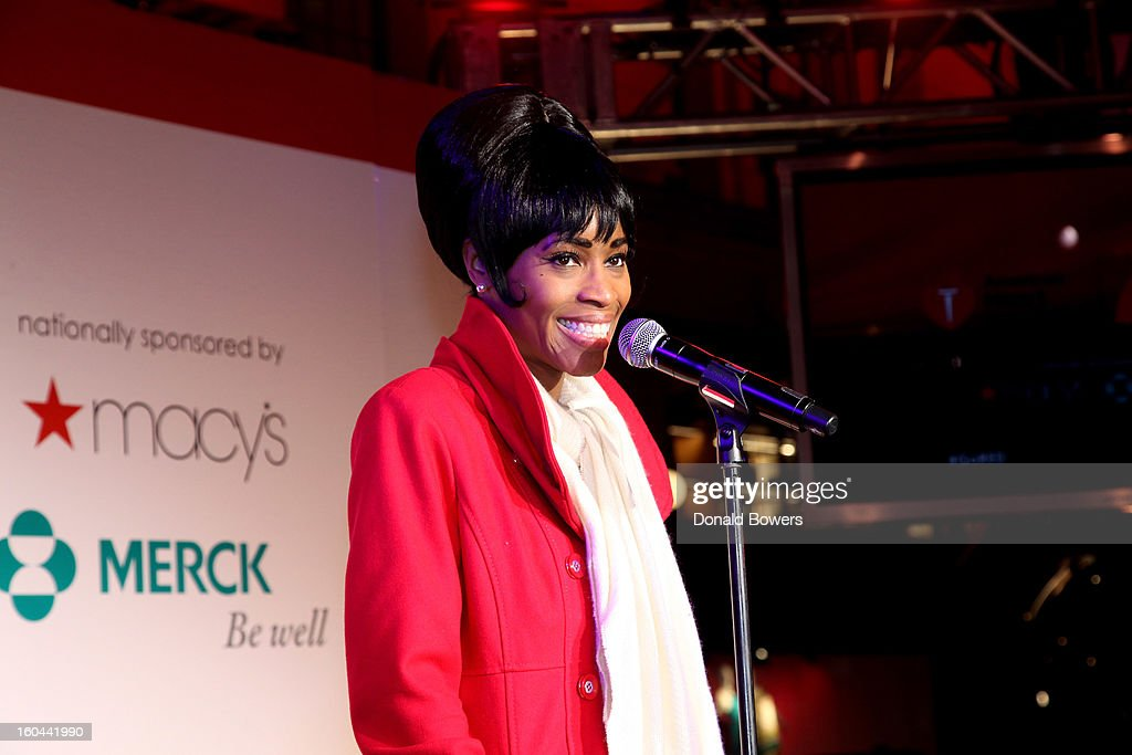 Actress Valisia LeKae speaks at the event to celebrate the 10th National Wear Red Day with American Heart Association's Go Red For Women movement at Macy's Herald Square on January 31, 2013 in New York City.