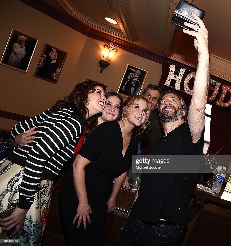 Actress Vanessa Bayer producer Kim Carmele actress Amy Schumer and director Judd Apatow arrive at the screening of 'Trainwreck' during the 2015 SXSW...