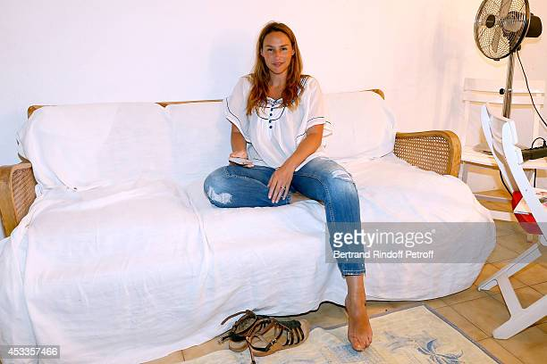 Actress Vanessa Demouy poses backstage after the 'L'appel de Londres' play at the 30th Ramatuelle Festival Day 8 on August 8 2014 in Ramatuelle France