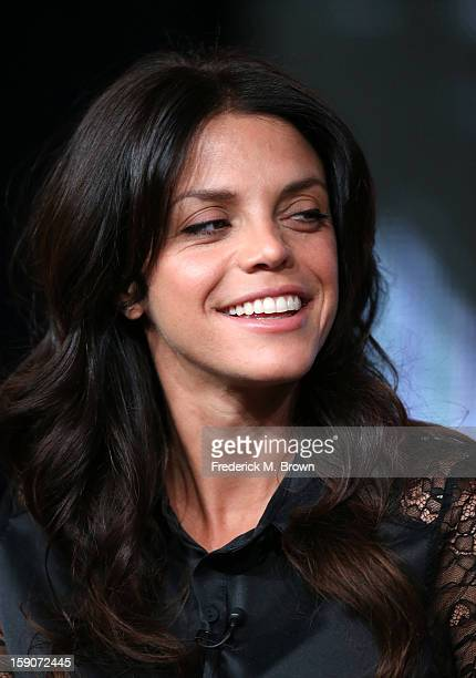 Actress Vanessa Ferlito speaks onstage at the 'Graceland' panel discussion during the USA portion of the 2013 Winter TCA Tour Day 4 at the Langham...