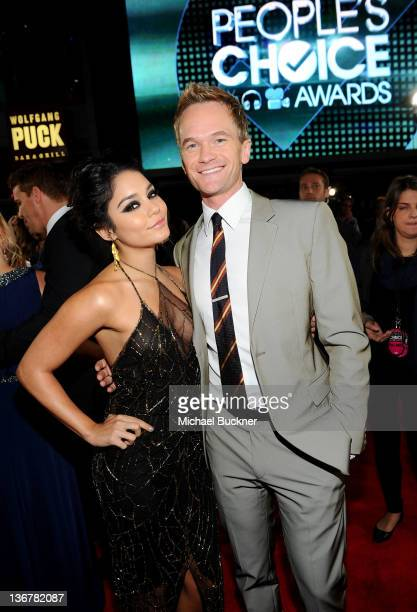 Actress Vanessa Hudgens and actor Neil Patrick Harris arrive at the 2012 People's Choice Awards at Nokia Theatre LA Live on January 11 2012 in Los...