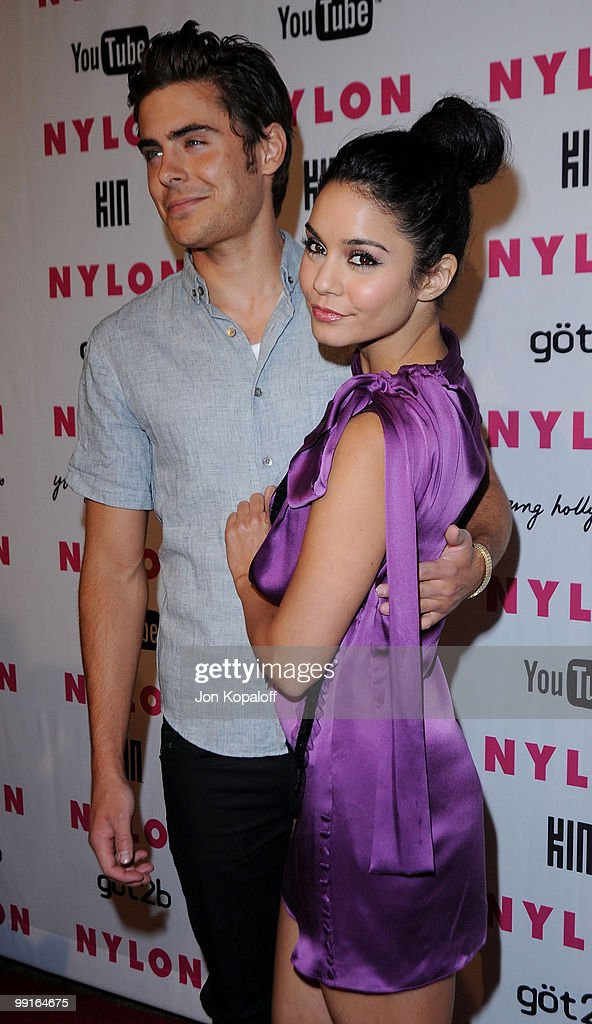 Actress Vanessa Hudgens and actor Zac Efron arrive at NYLON Magazine's May Issue Young Hollywood Launch Party at The Roosevelt Hotel on May 12, 2010 in Hollywood, California.