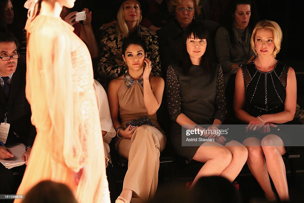 Actress Vanessa Hudgens (L) and actress <a gi-track='captionPersonalityLinkClicked' href=/galleries/search?phrase=Katherine+Heigl&family=editorial&specificpeople=206952 ng-click='$event.stopPropagation()'>Katherine Heigl</a> (R) attend the Jenny Packham Fall 2013 fashion show during Mercedes-Benz Fashion Week at The Studio at Lincoln Center on February 12, 2013 in New York City.