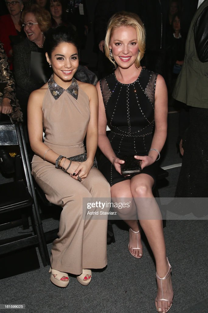Actress Vanessa Hudgens and actress <a gi-track='captionPersonalityLinkClicked' href=/galleries/search?phrase=Katherine+Heigl&family=editorial&specificpeople=206952 ng-click='$event.stopPropagation()'>Katherine Heigl</a> attend the Jenny Packham Fall 2013 fashion show during Mercedes-Benz Fashion Week at The Studio at Lincoln Center on February 12, 2013 in New York City.