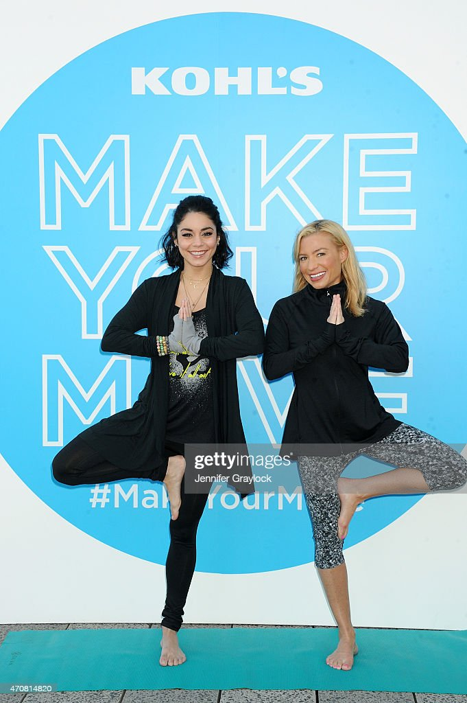 Actress Vanessa Hudgens and celebrity trainer Tracy Anderson attend the Kohl's exclusive Gaiam apparel launch event at High Line on April 23 2015 in...