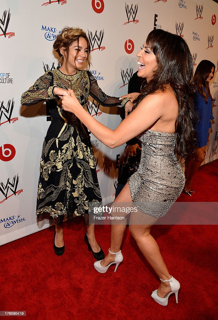 Actress Vanessa Hudgens (L) and professional wrestler Layla El attend WWE & E! Entertainment's 'SuperStars For Hope' at the Beverly Hills Hotel on August 15, 2013 in Beverly Hills, California.