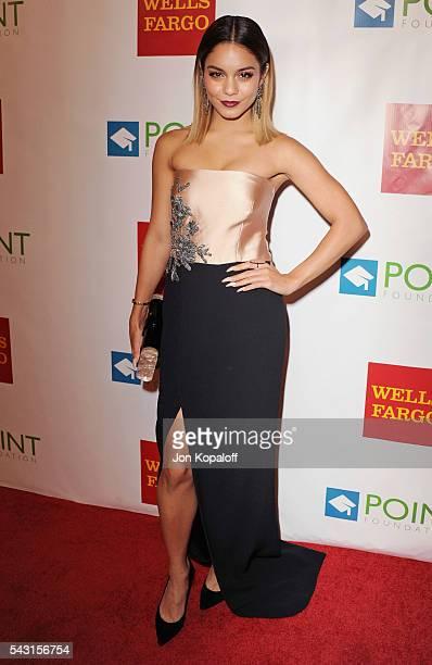 Actress Vanessa Hudgens arrives at Point Foundation's Annual 'Voices On Point' Fundraising Gala at the Hyatt Regency Century Plaza on September 13...