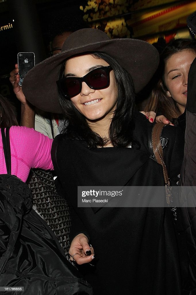 Actress Vanessa Hudgens arrives at Roissy airport on February 16, 2013 in Paris, France.