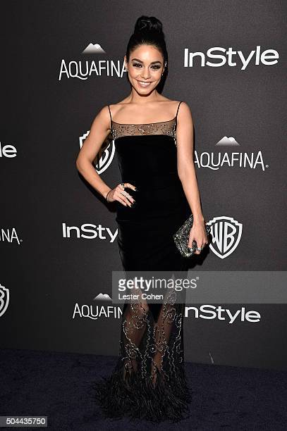 Actress Vanessa Hudgens attends InStyle and Warner Bros 73rd Annual Golden Globe Awards PostParty at The Beverly Hilton Hotel on January 10 2016 in...