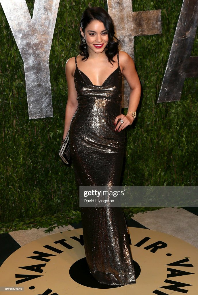 Actress Vanessa Hudgens attends the 2013 Vanity Fair Oscar Party at the Sunset Tower Hotel on February 24, 2013 in West Hollywood, California.