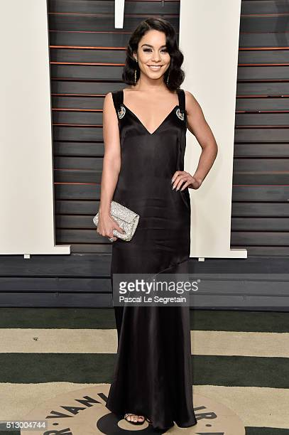 Actress Vanessa Hudgens attends the 2016 Vanity Fair Oscar Party Hosted By Graydon Carter at the Wallis Annenberg Center for the Performing Arts on...