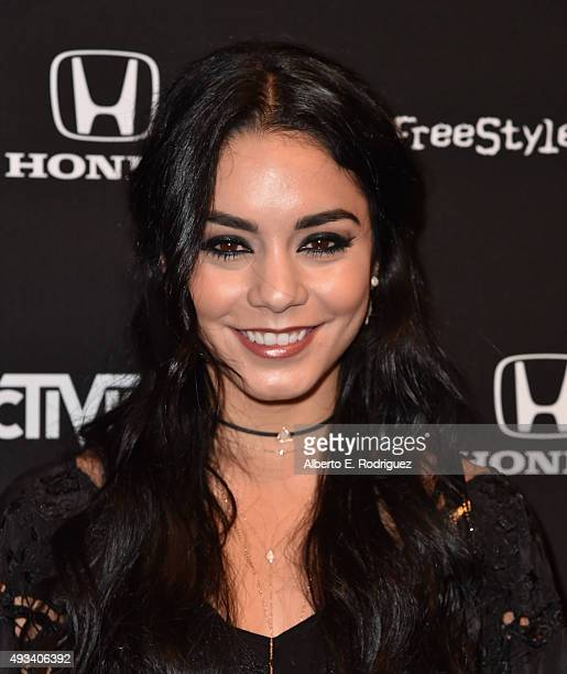 Actress Vanessa Hudgens attends the Guitar Hero Live Launch Party at YouTube Space LA on October 19 2015 in Los Angeles California